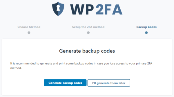 What are the 2FA backup codes?